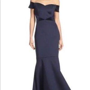 Eliza J Off the Shoulder Trumpet Velvet Trim Gown